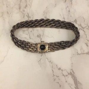 Silver & Black Woven Chain Bracelet from Macy's